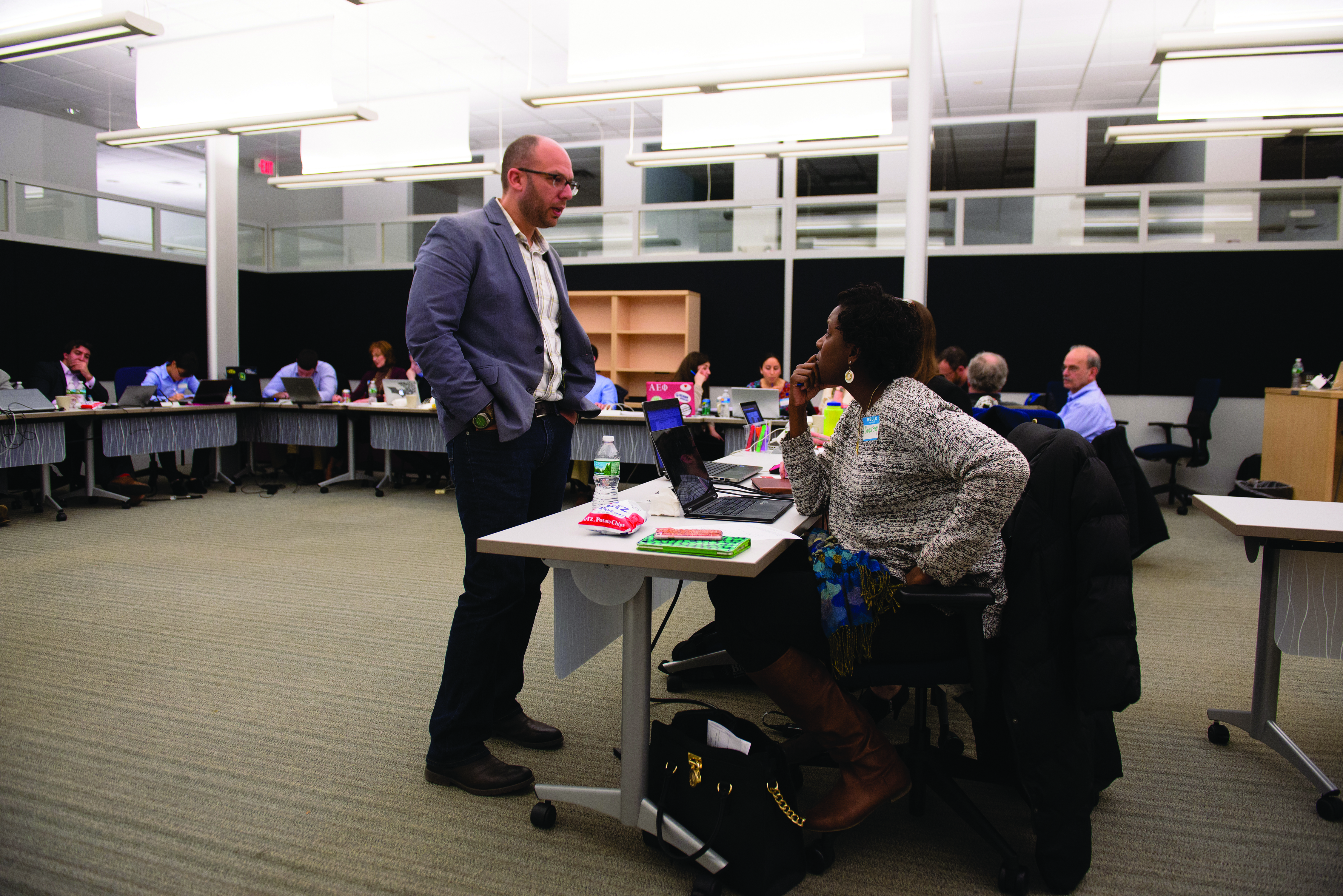 Accelerate UConn instructor Micah Kotch helps UConn Health Maternal and Fetal Medicine Fellow, Courtney Townsel, develop a strategy for bringing a new device, which would help prevent pre-term birth, to market.