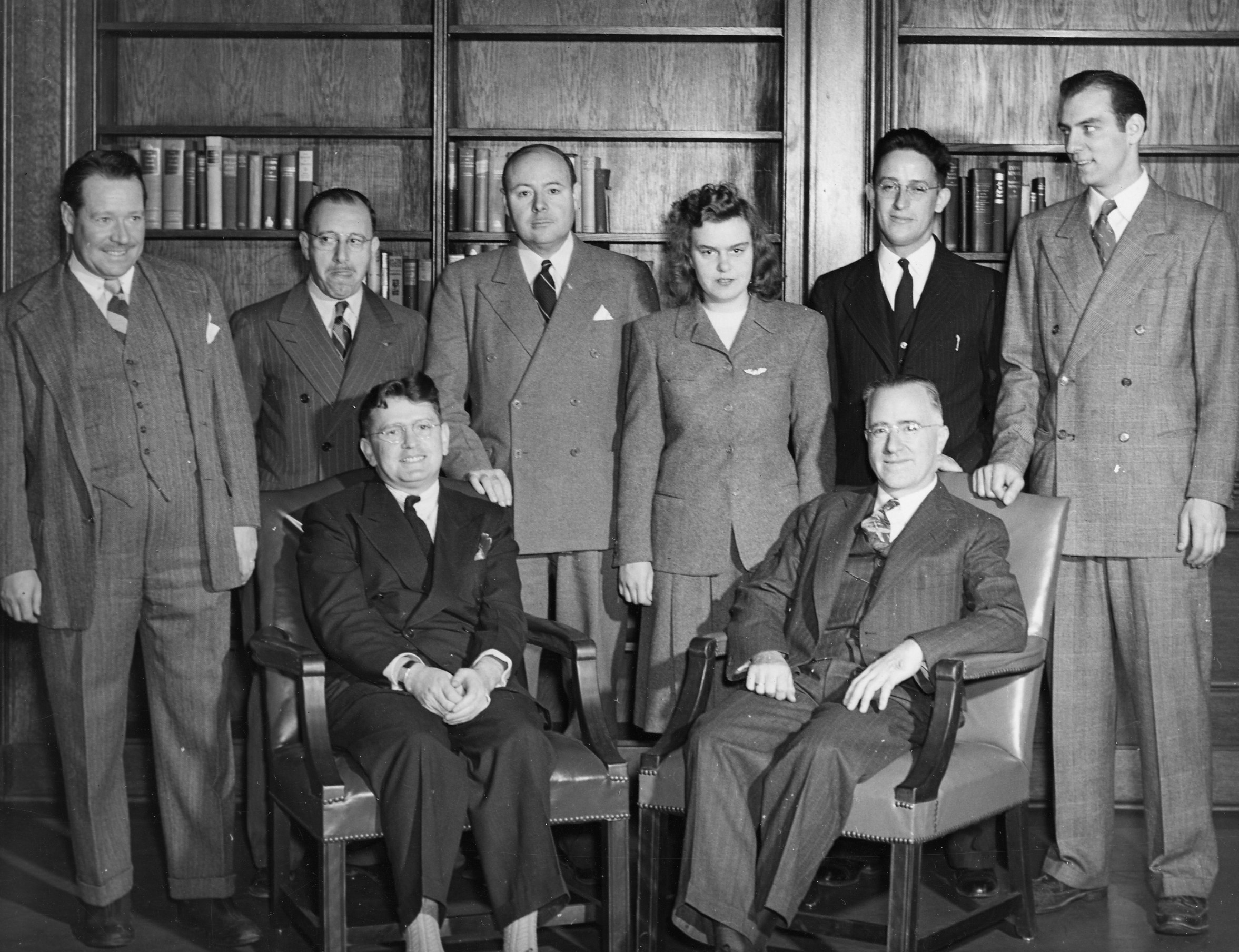 Laurence J. Ackerman (seated left) served as the first School of Business dean from 1941–1963.