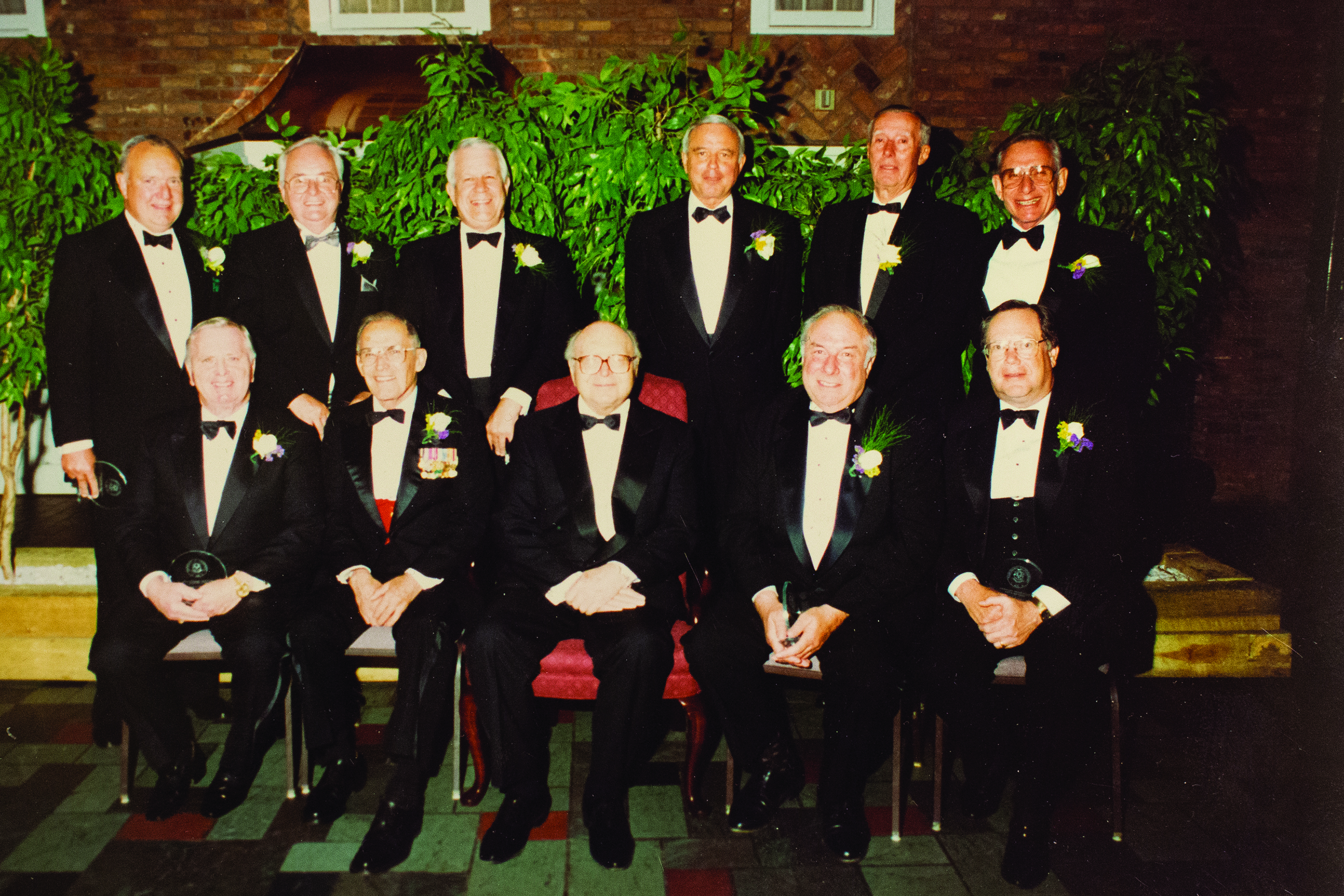 The first inductees to the UConn School of Business Hall of Fame in 1993 included — Front Row: Edward A. Horrigan, Jr. '50, Gen. Samuel Jaskilka '42, Harry A. Gampel '43, Edward F. Heberger '58, Robert R. Googins '58. Back Row: G. Robert O'Brien '60, James F. McNally '54, Robert Cizik '53, Ronald J. Bushwell '56, Gordon W. Tasker '47, Thomas J. Wolff '56.