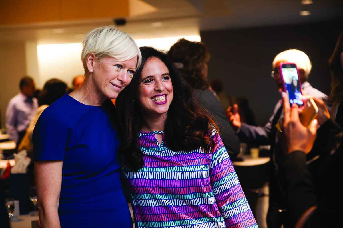Keynote Speaker Joanna Coles, left, Cosmopolitan editor-in-chief, poses for a photo at the annual Women Entrepreneurs Empowerment Forum in September 2015.