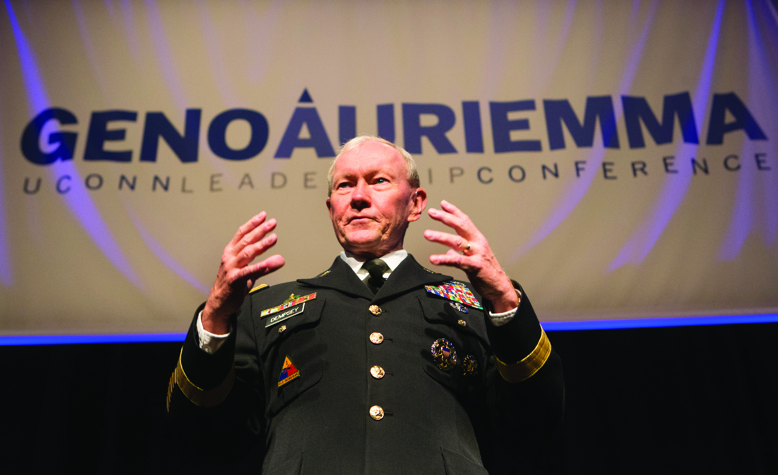 Former U.S. Joint Chiefs of Staff Chairman General Martin Dempsey addresses participants at the 2014 Geno Auriemma UConn Leadership Conference.